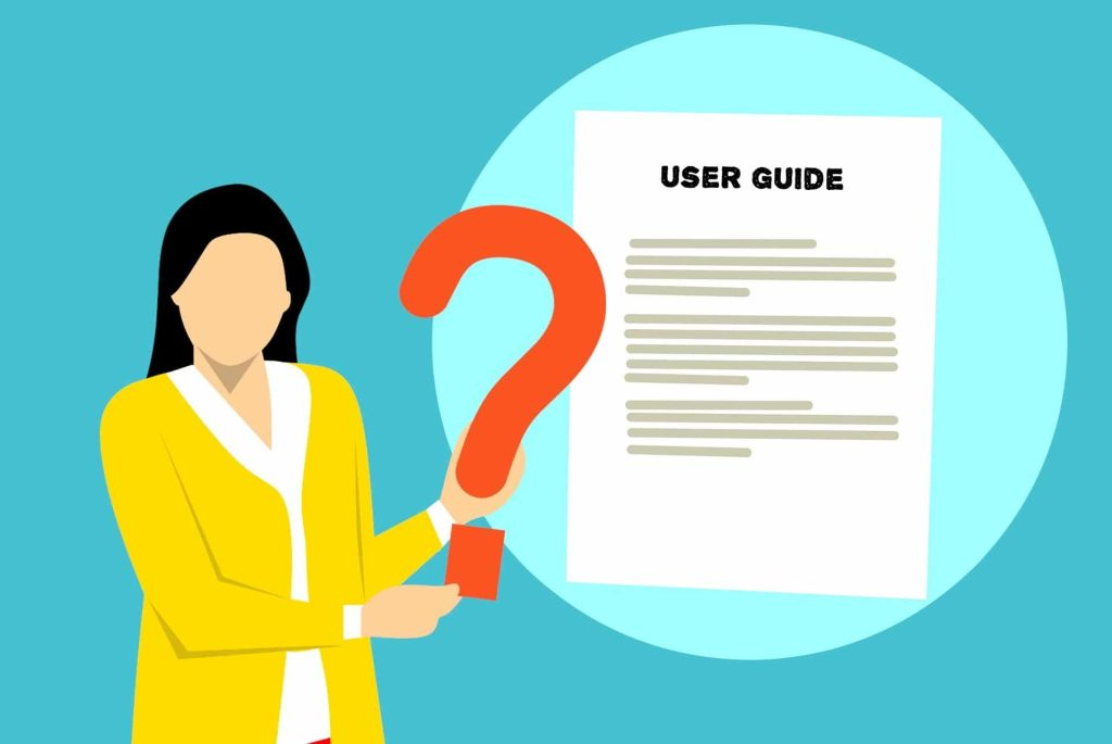 vector graphic of a woman holding a large red question mark in front of a depiction of a user guide or instruction manual
