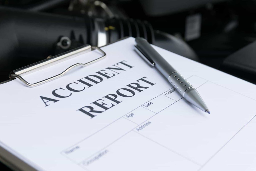 closeup of an accident report form ready to be filled out