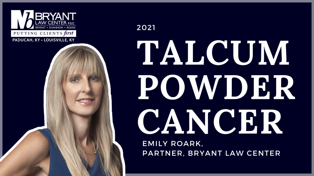 Talcum powder lawsuit graphic with Bryant Law Center attorney Emily Rourke