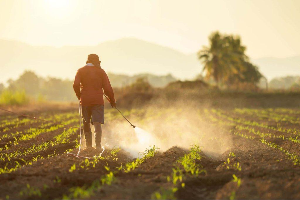Farm worker spraying herbicide in a field.