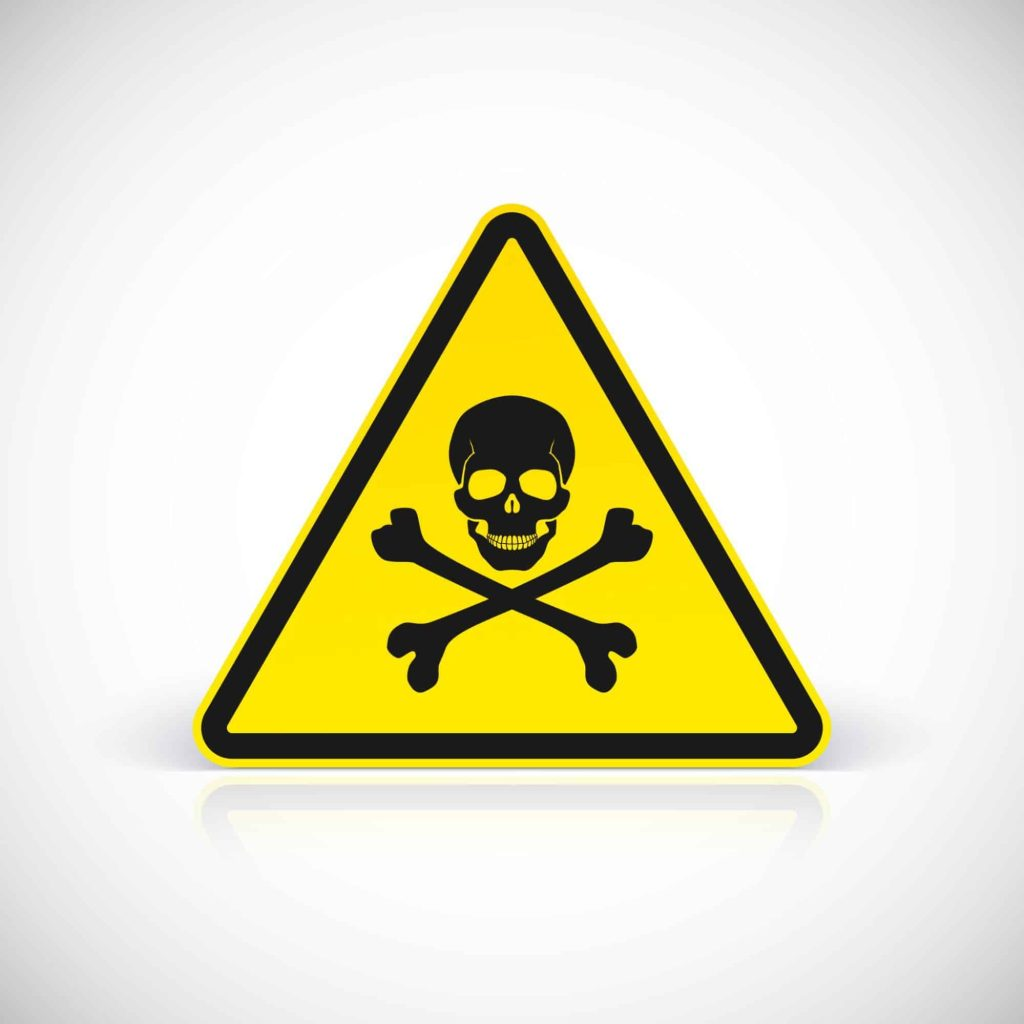 Poison warning sign with skull and crossbones.